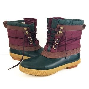 Vintage Green Maroon Sherpa Lined Duck Boots Sz 8
